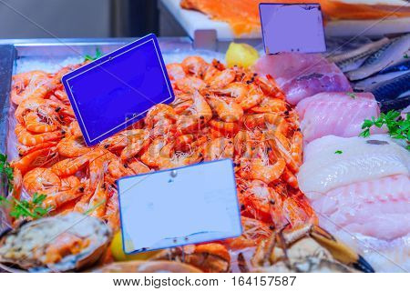 Seafood On Sale In A French Market