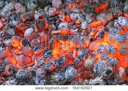 A smoldering coal fire. Bright background of black and red colors. Landscape