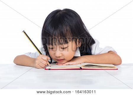 Boring Asian Chinese Little Girl Wearing School Uniform Studying