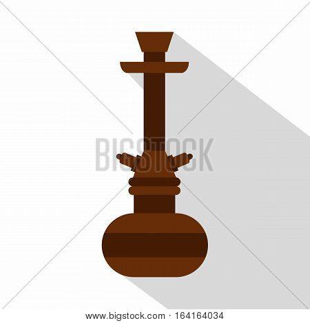 Brown arabic hookah icon. Flat illustration of brown arabic hookah vector icon for web isolated on white background