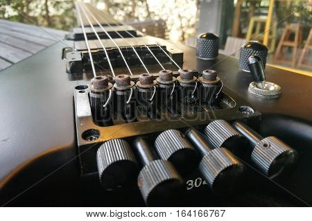 Electric guitar. Close up. Back Electric guitar