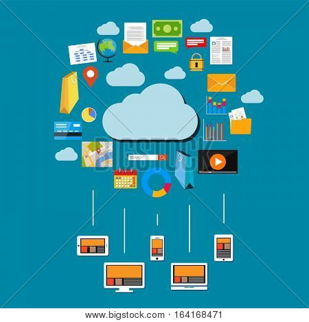 Cloud data & data storage. Devices connect to cloud storage. Cloud computing concept.