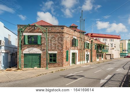 Bridgetown Barbados - December 18 2016: Building in the historic part of Bridgetown Barbados Caribbean. Historic Bridgetown and its Garrison is a World Heritage Site of UNESCO.