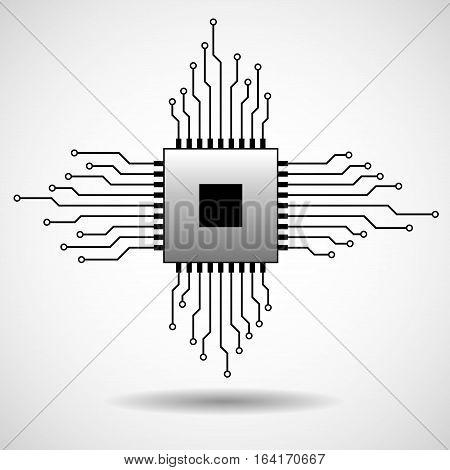 Cpu. Microprocessor. Microchip. Circuit board. Vector icon