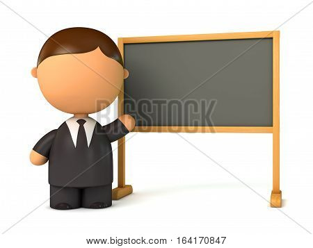 Puppet businessman standing at board. Blackboard ready for your message. Front view. Isolated on white background. 3D illustration. 3D rendering