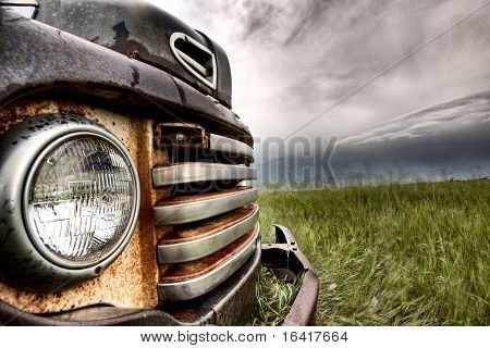 Old Vintage Truck Oon The Prairie