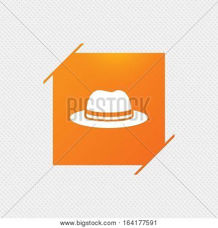 Top hat sign icon. Classic headdress symbol. Orange square label on pattern. Vector