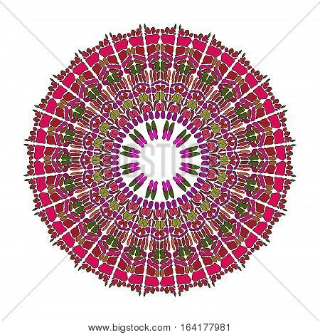 Red mandala for energy and power obtaining circle mandala for meditation training