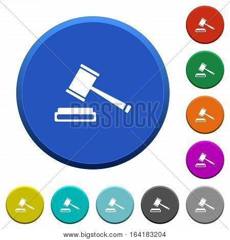 Auction hammer round color beveled buttons with smooth surfaces and flat white icons