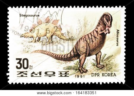 NORTH KOREA - CIRCA 1991 : Cancelled postage stamp printed by North Korea, that shows Dinosaurs.