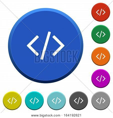 Programming code and scripting. Round color beveled buttons with smooth surfaces and flat white icons