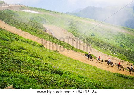 Landscape in mountains, the riders on horses