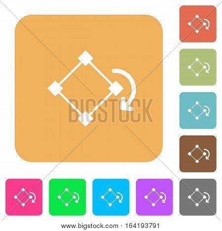 Rotate element flat icons on rounded square vivid color backgrounds.