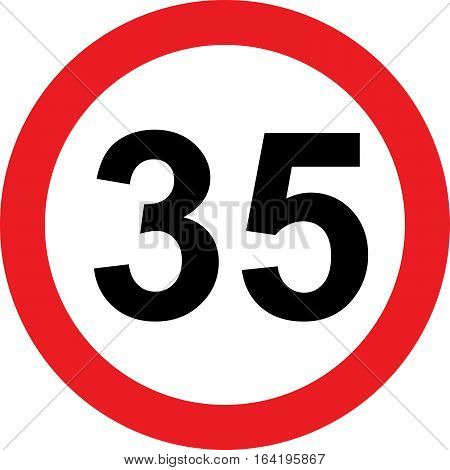 35 speed limitation road sign on white background