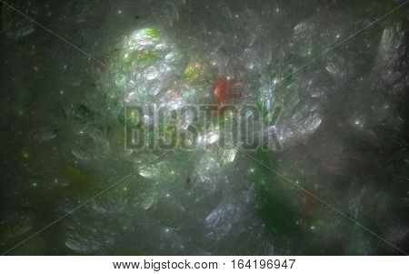 Fractal background in shades of green. 3D illustration.