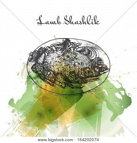 Lamb Shashlik watercolor effect illustration. Vector illustration of Persian cuisine.