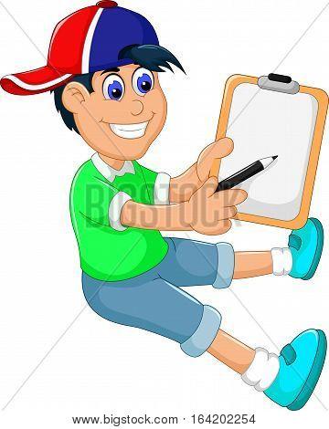 funny little boy cartoon showing his clip board