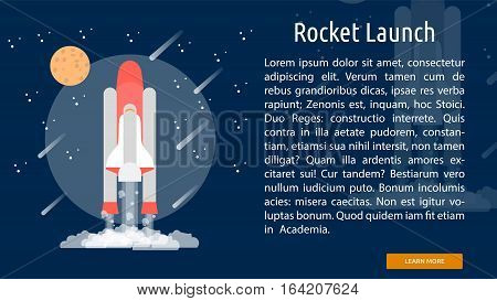 Rocket Launch Conceptual Banner | Great flat illustration concept icon and use for space, universe, galaxy, astrology, planet and much more.