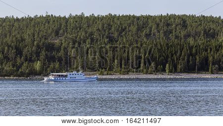 BALTIC SEA, SWEDEN ON JULY 25. View of a riverboat on July 25, 2013 by the Baltic Sea, Sweden. On tour in June, July and August, tourism and dinner. Editorial use.