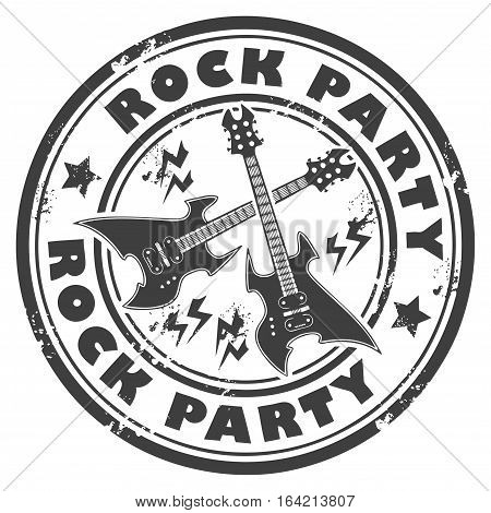 Grunge rubber stamp with the guitar and the words Rock Party written inside the stamp, vector illustration