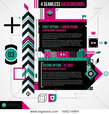 Two Banners In Weird Geometric Style With Abstract Shapes And Flashy Colors. Eps10 Vector Template