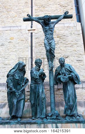 Crucifixion Group Sculpture In Muenster, Germany