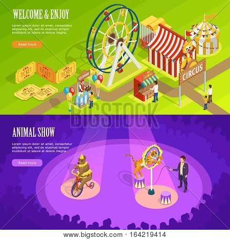 Circus show with trained animals and observation wheel 2 isometric horizontal banners webpage design isolated vector illustration