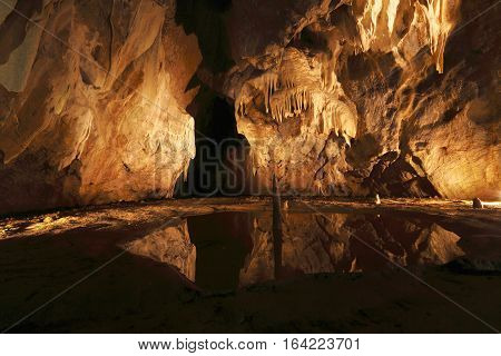 cave with many stalagmites and stalactites in Punkevni cave czech republic