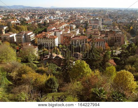 Cityscape of Citta Bassa or the Lower Town in an autumn sunny day, Bergamo, Northern Italy
