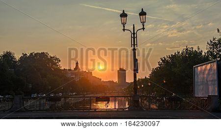 Sunrise In Bucharest City, The Shore Of Dambovita River, Downtown