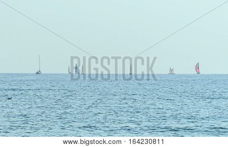 Sailing Boats On The Black Sea, Blue Water Waves, Clear Sky