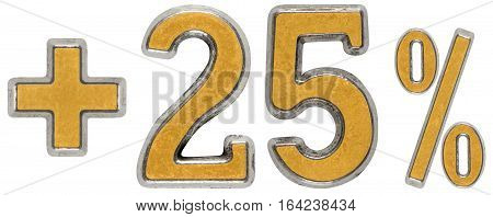 Percent Benefits, Plus 25 Twenty Five Percent, Numerals Isolated On White Background