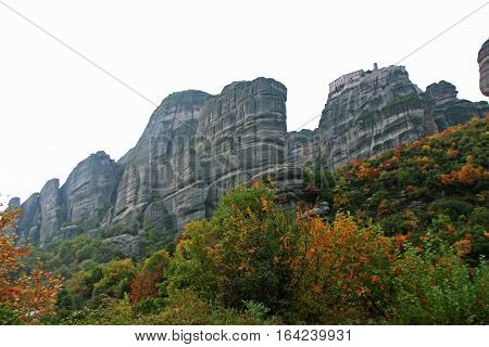 Landscape of the mountains and monasteries of Meteora Greece