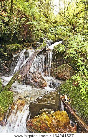 Waterfall in the mountains, Nepal, Annapurna trekking