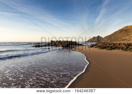 View of the Amoreira Beach in the Costa Vincentina in Alentejo Portugal; Cocept for travel in Portugal