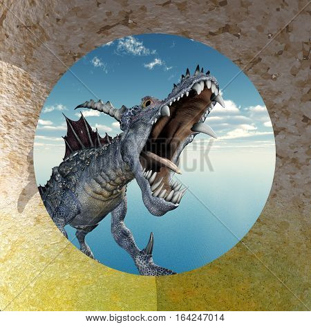 Computer generated 3D illustration with a flying dragon in front of a circular wall opening