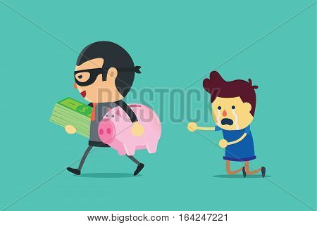 Bandit in suit holding money and piggy bank of a man. This illustration about cheated.