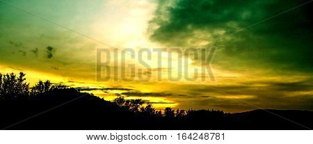 Silhouette of mountains and forest landscape .Landscape background