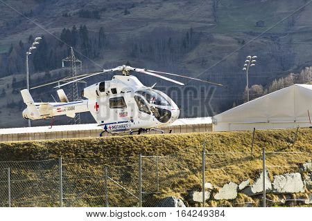 Matrei, Austria - March 28: Red Cross Medic Md Helicopter Md Explorer By Mcdonnell Douglas Helicopte