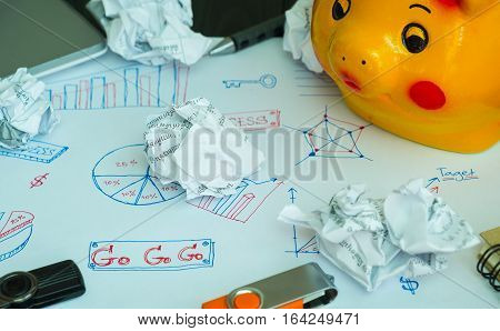 Business concept Saving for investment Key of success