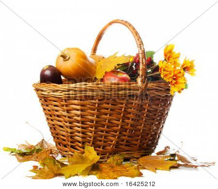 Autumnal basket over white