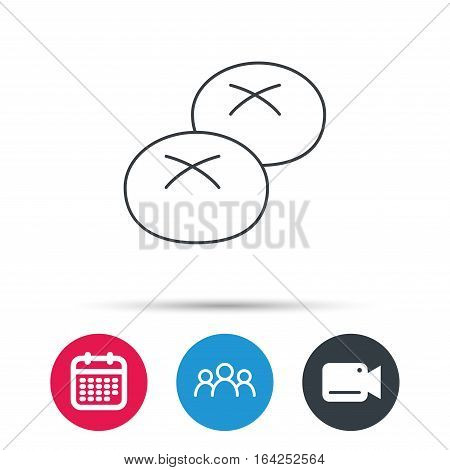 Bread rolls or buns icon. Natural food sign. Bakery symbol. Group of people, video cam and calendar icons. Vector