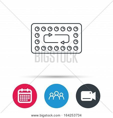 Contraception pills icon. Pharmacology drugs sign. Group of people, video cam and calendar icons. Vector