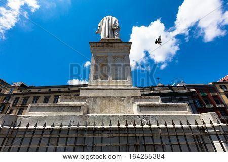 Dante Alighieri Square  In Naples Center, Italy