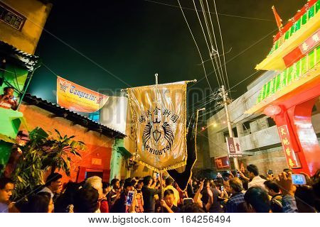 KOLKATA WEST BENGAL INDIA - FEBRUARY 7TH : Celebration of Chinese new year at China Town Kolkata. It is the year of the monkey as per chinese calender.