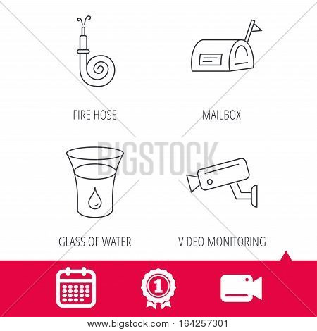 Achievement and video cam signs. Mailbox, video monitoring and fire hose icons. Glass of water linear sign. Calendar icon. Vector