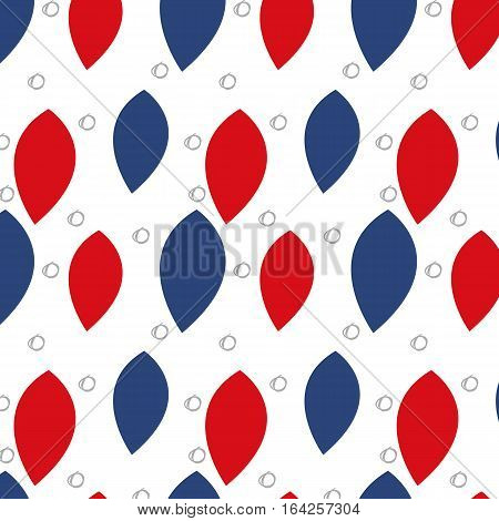Seamless pattern with red and blue leaves