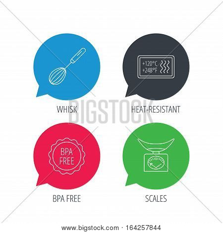 Colored speech bubbles. Kitchen scales, whisk and heat-resistant icons. BPA free linear sign. Flat web buttons with linear icons. Vector