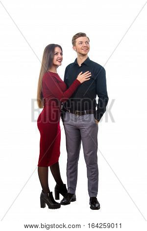 Girl In A Red Dress And A Man In A Black Shirt