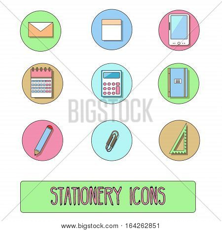 Stationery icons. Vector set of office objects symbols hand drawn style. Tablet calendar calculator pencil and other objects. Isolated design elements